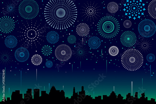 Vector illustration of a festive fireworks display over the city at night scene for holiday and celebration background design Fototapet