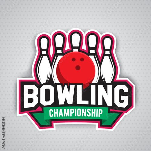 Staande foto Kunstmatig ultimate bowling chanpionship logo design