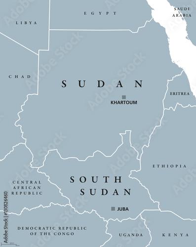 Sudan and South Sudan political map with capitals Khartoum and Juba ...
