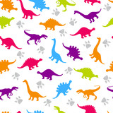Fototapeta Dinusie - Cute kids pattern for girls and boys. Colorful dinosaurs on the abstract grunge background create a fun cartoon drawing. The background is made in neon colors. Urban backdrop for textile and fabric.