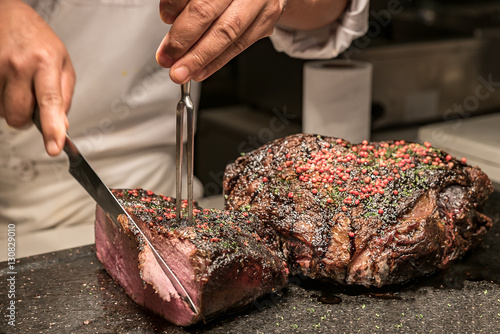 Fotografie, Obraz  Carving Wagyu beef