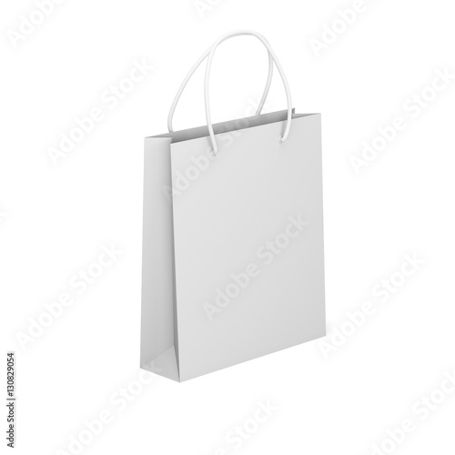 paper package isolated on a white background empty shopping bag