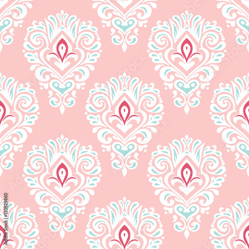 Cotton fabric Damask Seamless tiled pattern vector