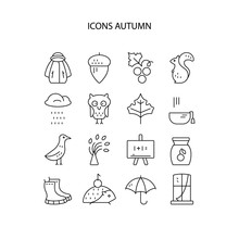 Big Collection Of Linear Icons With Different Autumn And Fall Symbols. Vector Line Icon Series. Squirrel, Umbrella, Rain, Mushroom,  And Other Seasonal Elements.