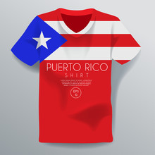 Puerto Rico : National Shirt Template : Vector Illustration