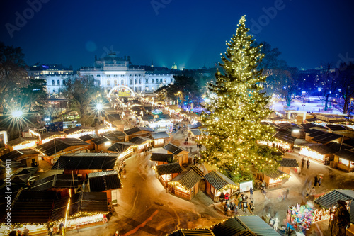 Fotobehang Wenen Vienna traditional Christmas Market 2016, aerial view at blue hour (sunset). Wien, Austria, Europe.
