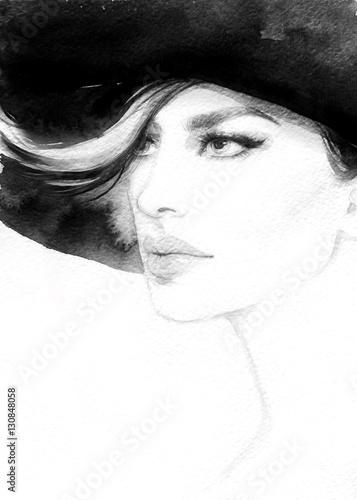 Fototapety, obrazy: Woman portrait. Fashion illustration. Watercolor painting