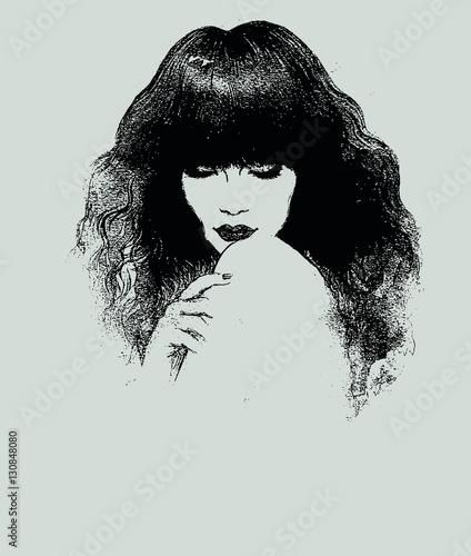 Poster Portrait Aquarelle Woman portrait. Fashion illustration. Watercolor painting