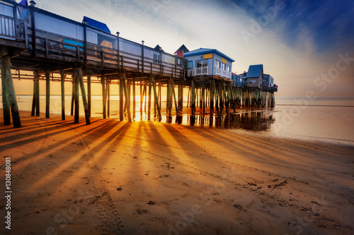 Sun rays on sand, Old Orchard Beach