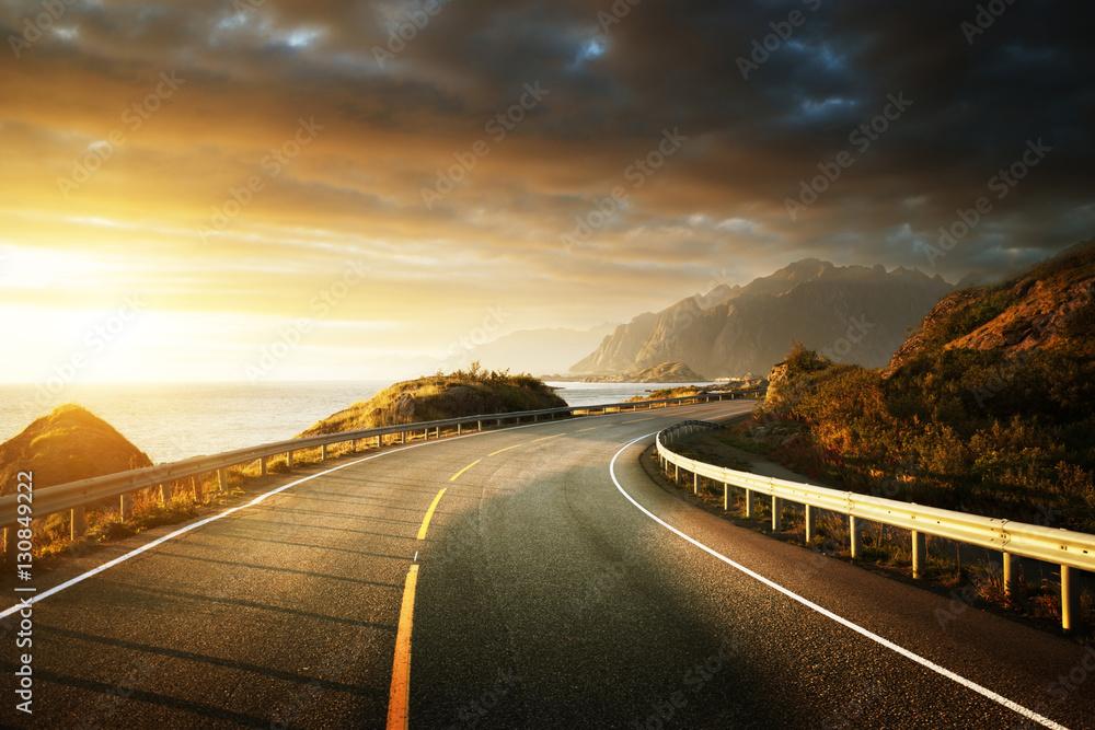 Fototapety, obrazy: oad by the sea in sunrise time, Lofoten island, Norway