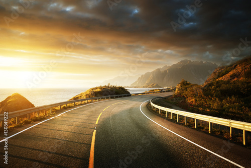 Poster Scandinavie oad by the sea in sunrise time, Lofoten island, Norway