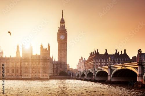 Fotobehang Praag Big Ben and Westminster at sunset, London, UK