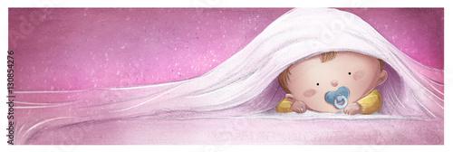 Fotografie, Obraz  bebe jugando en la cama