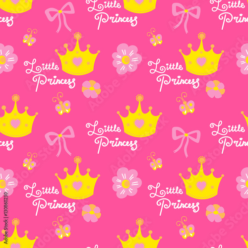 Little Princess Pattern Vector Pink Girl Background For Children Birthday Card Baby Shower Invitation Girls Wallpaper Kids Clothing Fabric Buy This Stock Vector And Explore Similar Vectors At Adobe Stock