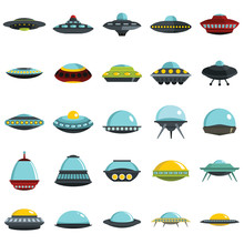 Alien Spaceship, Spacecrafts And Ufo Vector Set