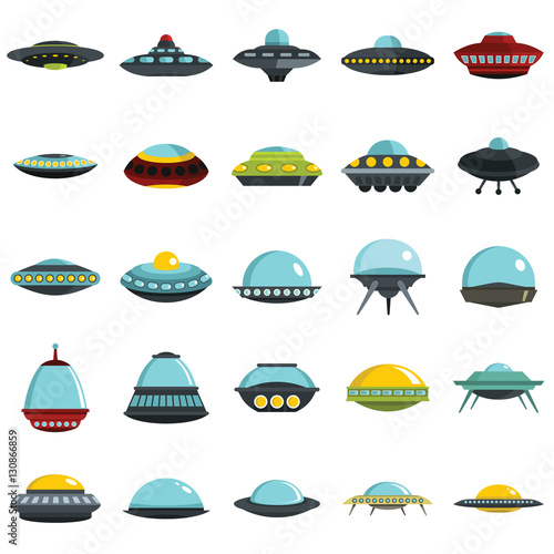 Photo Alien spaceship, spacecrafts and ufo vector set