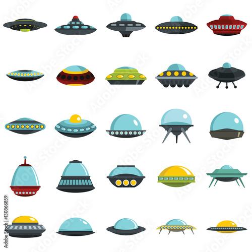 Alien spaceship, spacecrafts and ufo vector set Wallpaper Mural