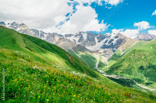 Rocky Caucasus Mountains (Bezengi Wall, Shkhara) landscape in Ushguli, Svaneti, Georgia