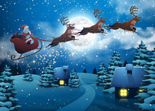 Santa Claus Flying On A Sleigh With Deer. House Snowy Christmas Landscape Fir Tree At Night And Big Moon. Concept For Greeting Or Postal Card. Background Vector Illustration In Cartoon Style