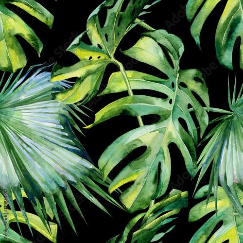 bezszwowa-akwareli-ilustracja-tropikalni-liscie-zwarta-dzungla-malowane-recznie-baner-z-motywem-tropicznego-lata-mozna-wyko