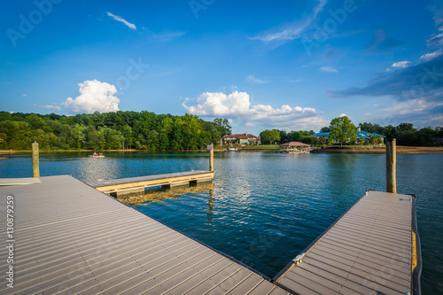 Photo  Docks on the shore of Lake Norman, at Ramsey Creek Park, in Corn