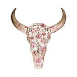 Akwarela czaszki z wzorem piwonii. Motyw do dekoracji tatto - 130880271