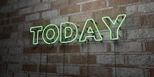 TODAY - Glowing Neon Sign On Stonework Wall - 3D Rendered Royalty Free Stock Illustration.  Can Be Used For Online Banner Ads And Direct Mailers..