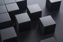Black Wooden Cubes On A Black ...