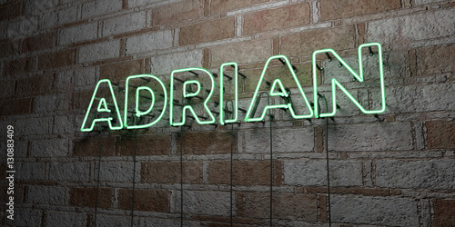 ADRIAN - Glowing Neon Sign on stonework wall - 3D rendered royalty free stock illustration Poster