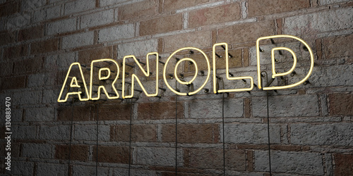 ARNOLD - Glowing Neon Sign on stonework wall - 3D rendered royalty free stock illustration Wallpaper Mural