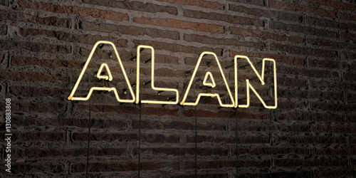 ALAN -Realistic Neon Sign on Brick Wall background - 3D rendered royalty free stock image Poster