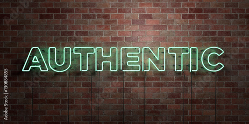 AUTHENTIC - fluorescent Neon tube Sign on brickwork - Front view - 3D rendered royalty free stock picture. Can be used for online banner ads and direct mailers..