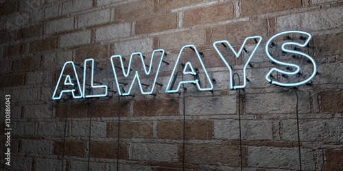 Photo  ALWAYS - Glowing Neon Sign on stonework wall - 3D rendered royalty free stock illustration