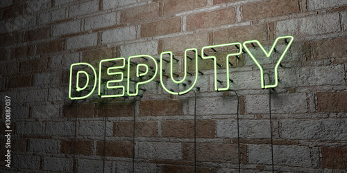 Valokuvatapetti DEPUTY - Glowing Neon Sign on stonework wall - 3D rendered royalty free stock illustration