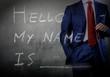 Self Introduction - Hello, My name is ... written on a blackboar
