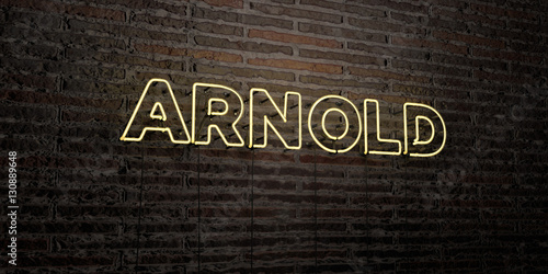 Photo ARNOLD -Realistic Neon Sign on Brick Wall background - 3D rendered royalty free stock image