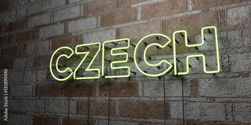 CZECH - Glowing Neon Sign on stonework wall - 3D rendered