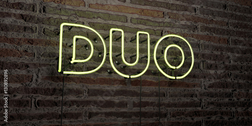 DUO -Realistic Neon Sign on Brick Wall background - 3D rendered royalty free stock image Poster