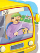 Professions. Coloring page. A driver. Illustration for children