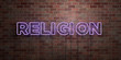 canvas print picture - RELIGION - fluorescent Neon tube Sign on brickwork - Front view - 3D rendered royalty free stock picture. Can be used for online banner ads and direct mailers..