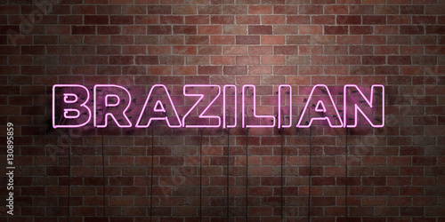 Fotografie, Obraz  BRAZILIAN - fluorescent Neon tube Sign on brickwork - Front view - 3D rendered royalty free stock picture