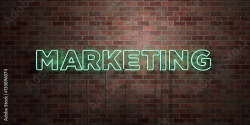 Fotografie, Obraz  MARKETING - fluorescent Neon tube Sign on brickwork - Front view - 3D rendered royalty free stock picture