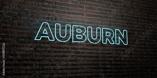 AUBURN -Realistic Neon Sign on Brick Wall background - 3D rendered royalty free stock image Canvas Print
