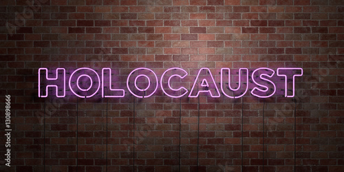 Fotografie, Obraz  HOLOCAUST - fluorescent Neon tube Sign on brickwork - Front view - 3D rendered royalty free stock picture