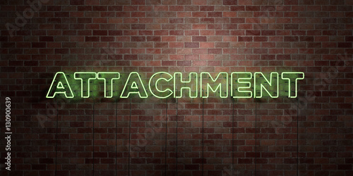 Photo ATTACHMENT - fluorescent Neon tube Sign on brickwork - Front view - 3D rendered royalty free stock picture