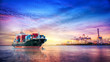 canvas print picture - Logistics and transportation of International Container Cargo ship in the ocean at twilight sky, Freight Transportation, Shipping