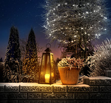 Christmas Lantern In Winter Ga...