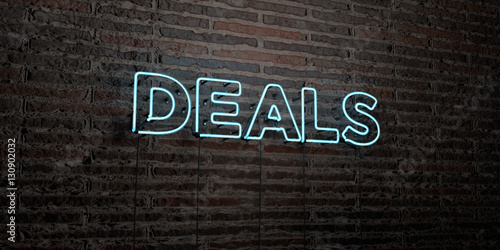 Fotografía  DEALS -Realistic Neon Sign on Brick Wall background - 3D rendered royalty free stock image