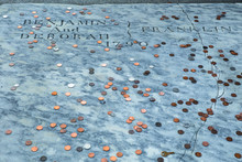 Benjamin Franklin Grave Covered With Pennies At Christ Church Burial Ground In Philadelphia Pennsylvania