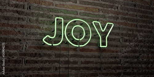 Fotografie, Tablou  JOY -Realistic Neon Sign on Brick Wall background - 3D rendered royalty free stock image